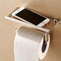 Porte-papier toilette en Inox, fixation mural, porte téléphone