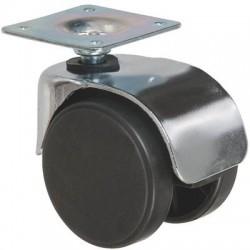 Roulette jumelée ameublement chromée à platine pivotante S49 ZP Caujolle