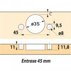 Boîtier à enfoncer angle d'ouverture 110° Hettich