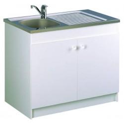 Meuble de cuisine complet sous évier 2 portes Sim'Nf Neova avec évier inox Moderna 100 x 60 cm