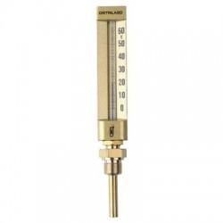 Thermomètre droit boîtier aluminium pour plancher chauffant