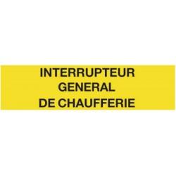 Plaque Interrupteur général de chaufferie Réf 215242 SELF CLIMAT