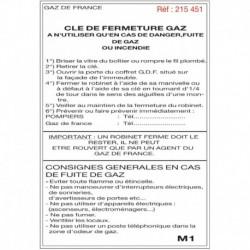 Etiquette clé fermeture gaz M1 210x297x0,086mm Réf 215451 SELF CLIMAT