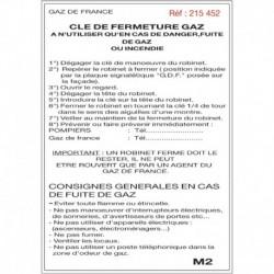 Etiquette clé fermeture gaz M2 210x297x0,090mm Réf 215452 SELF CLIMAT