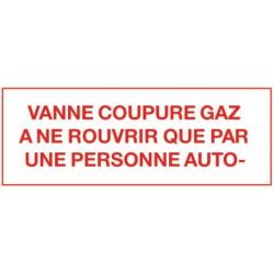 Etiquette vanne coupure gaz Réf 215296 SELF CLIMAT