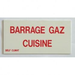 Etiquette non autocollante barrage gaz cuisine Réf BR640117 SELF CLIMAT