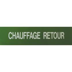 Etiquette chauffage retour 200x50x10mm paquet de 5 pièces Réf 215557 SELF CLIMAT