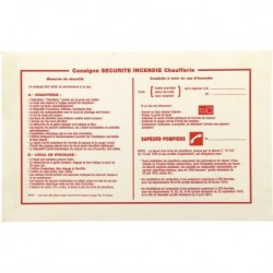 Etiquette autocollante Consigne sécurité incendie chaufferie Réf BR640185 SELF CLIMAT