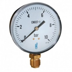 Manomètre 100mm 0 à 10 bars boitier en acier rac,vert, 1/2 DISTRILABO